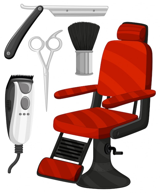 Barber Chair And Other Equipments Free Vector