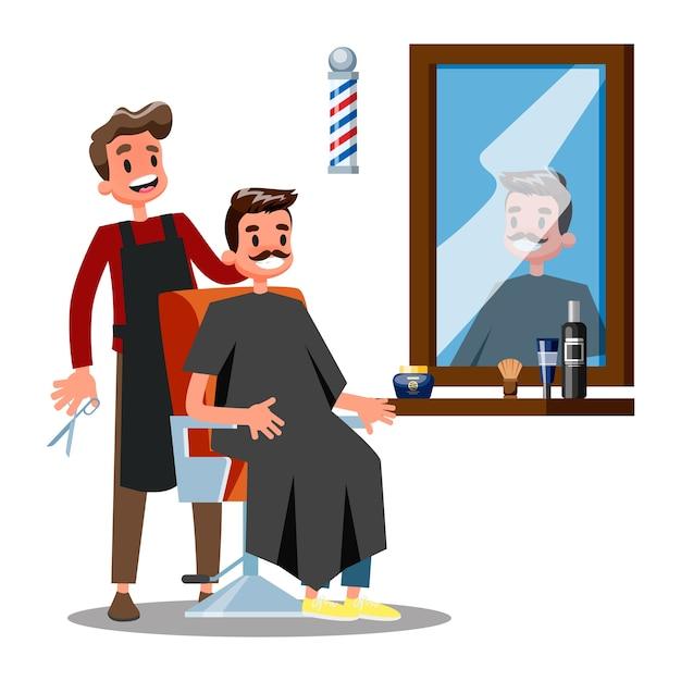 床屋のキャラクターと椅子の上の男。美容院持株 Premiumベクター
