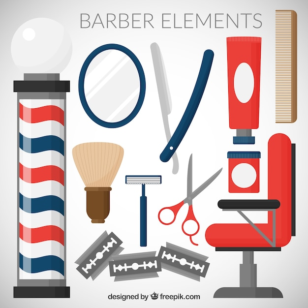 Barber element collection Free Vector