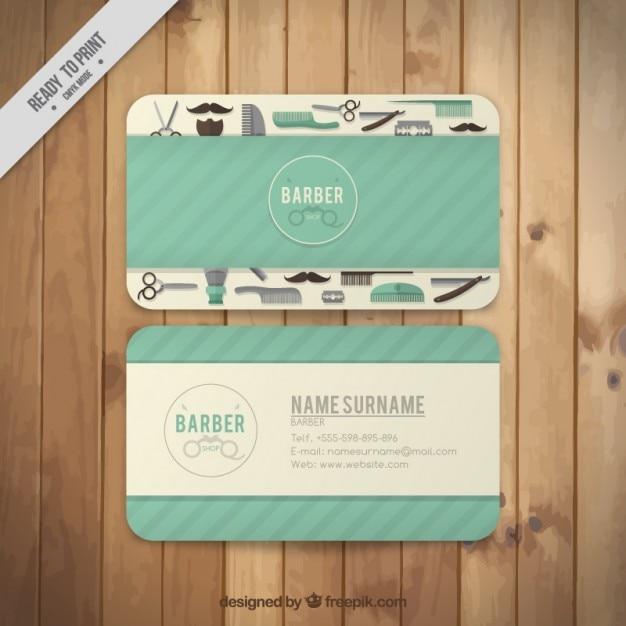 barber elements visit card free vector