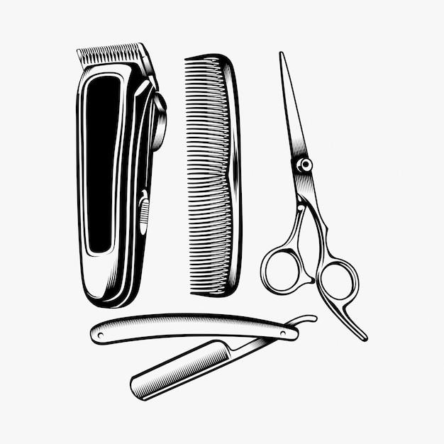 Barber equipment logo design bundle inspiration Premium Vector