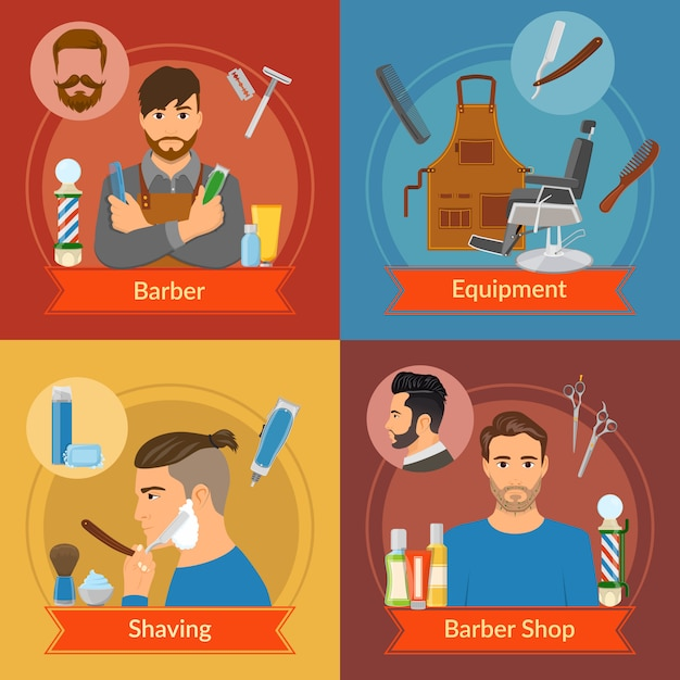 Barber flat style compositions Free Vector