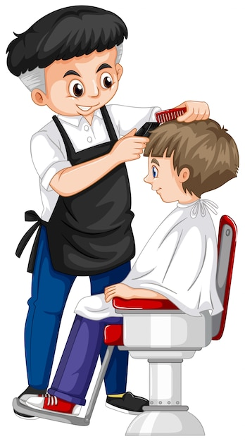 Barber giving boy haircut Free Vector