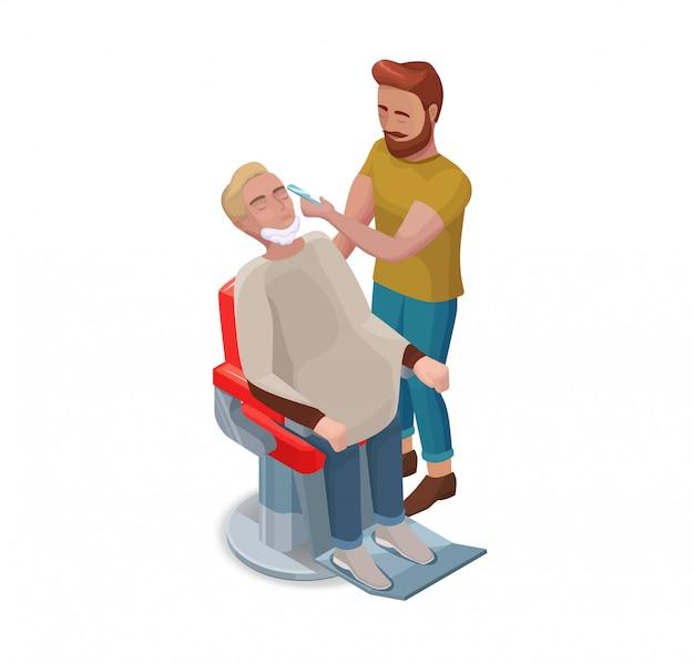 Barber or hairdresser shaving beard Premium Vector