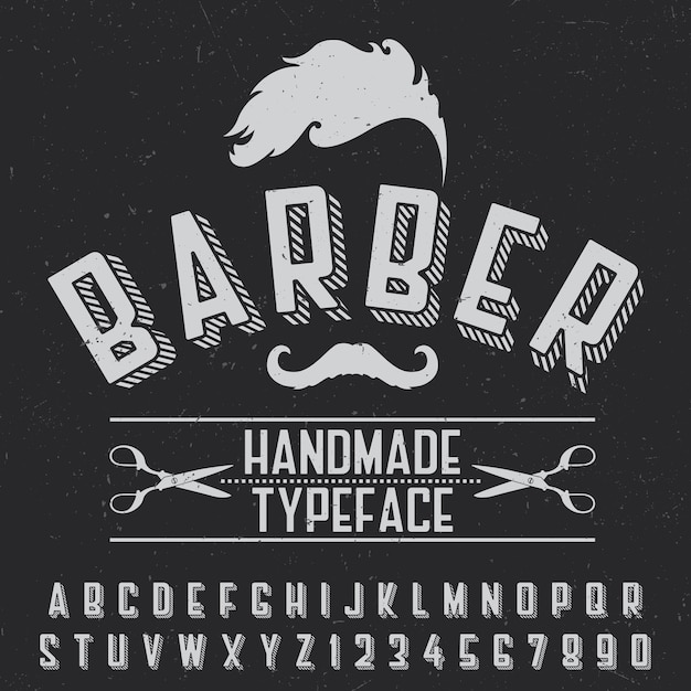 Barber handmade typeface poster for design on black Free Vector