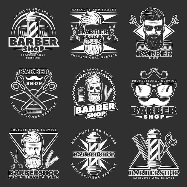 Barber hipster emblem set Free Vector