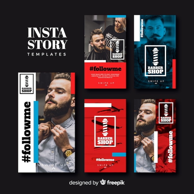 Barber instagram stories template collection Free Vector