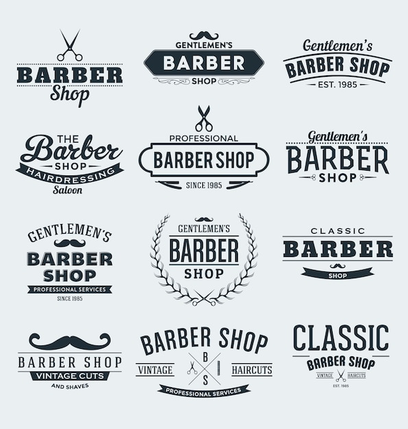Barber labels collection Free Vector