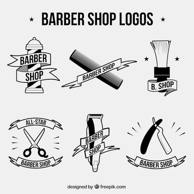 Barber logo collection Free Vector