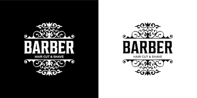 Barber logo design template Premium Vector