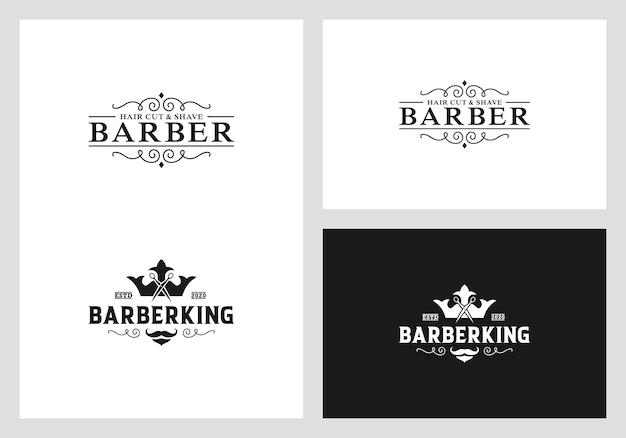Barber logo design vector Premium Vector