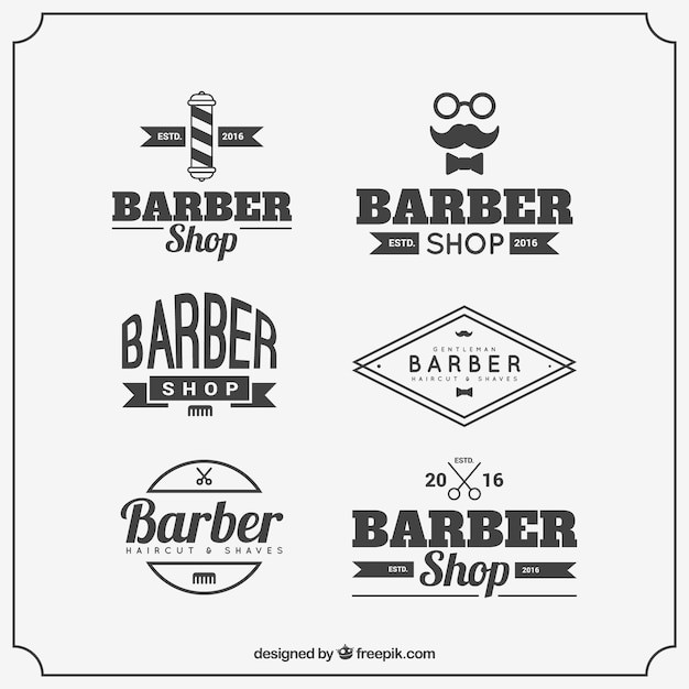 barber logo templates with vintage typography vector free download. Black Bedroom Furniture Sets. Home Design Ideas