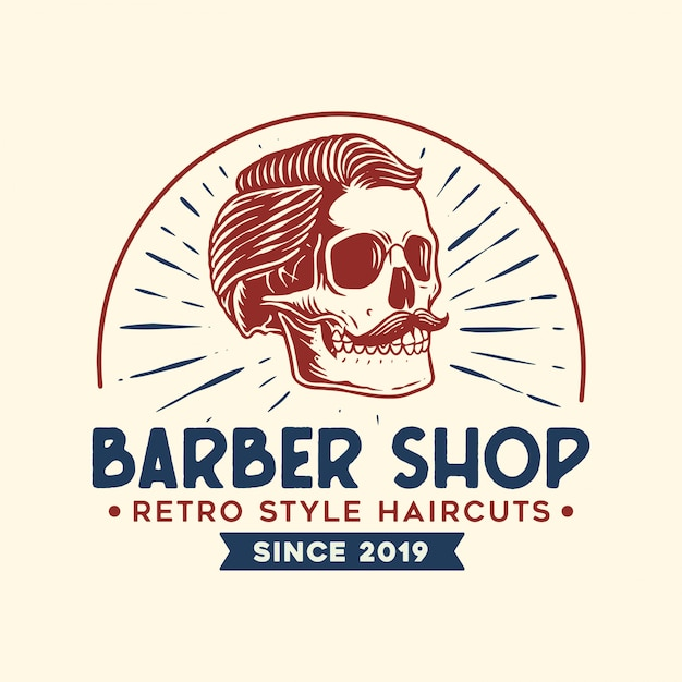 Barber logo with vintage style Premium Vector