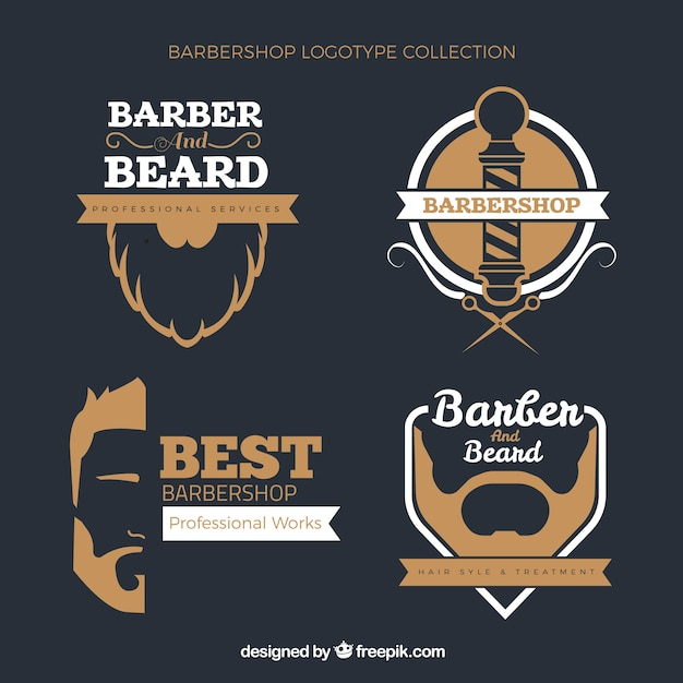 barber logos template in vintage style vector free download