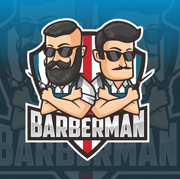 Barber man mascot logo Premium Vector