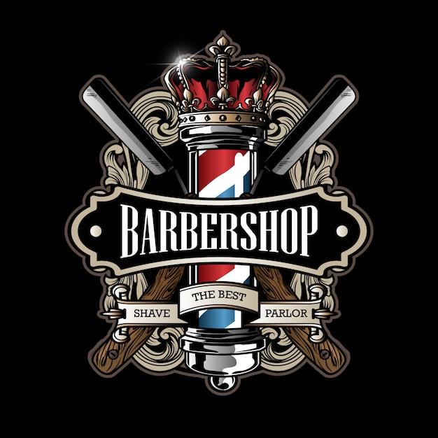 Barber pole logo Premium Vector
