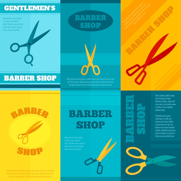 Barber poster template set Free Vector
