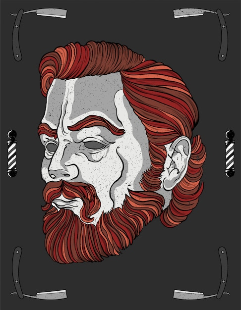 Barber red head movember Premium Vector