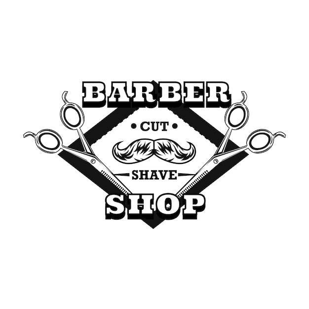 Barber scissors logo with moustache and text sample Free Vector