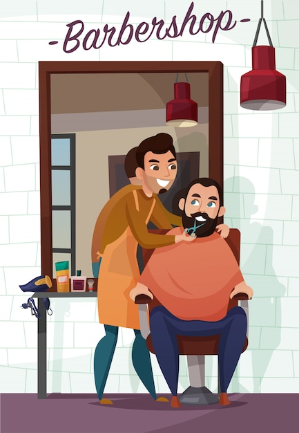 Barber services cartoon illustration Free Vector