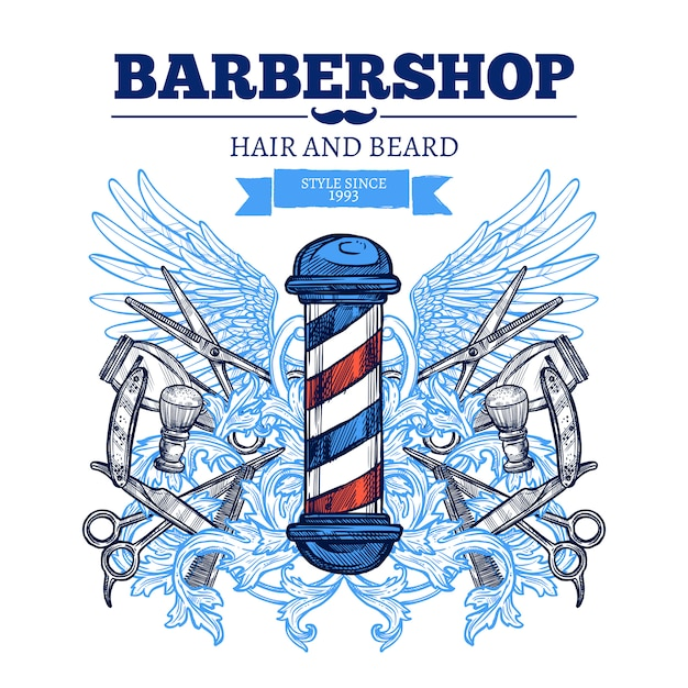 Barber shop  advertisement flat poster Free Vector