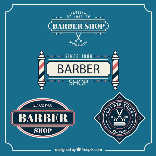 Barber shop badges in vintage style