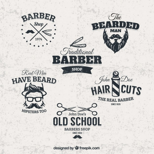 Barber shop badges Free Vector