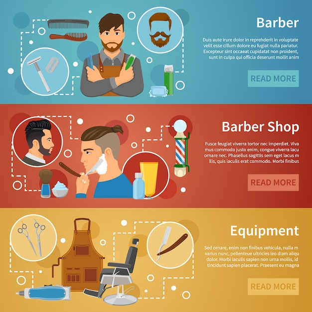 Barber shop banners set flat style Free Vector
