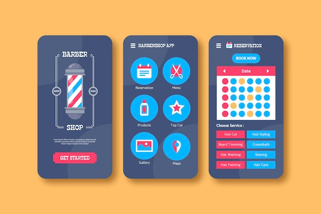 Barber shop booking app design Free Vector