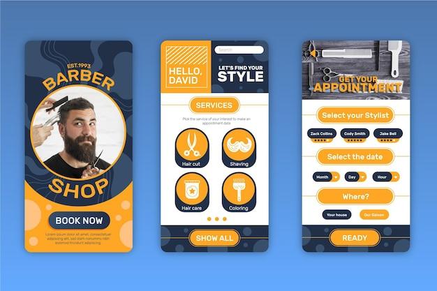 理髪店予約アプリのインターフェース 無料ベクター