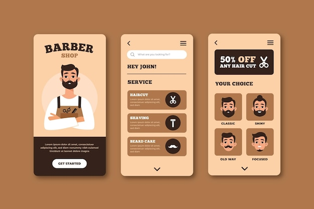 理髪店予約アプリのテーマ 無料ベクター