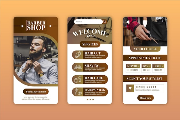 Barber shop booking app Free Vector