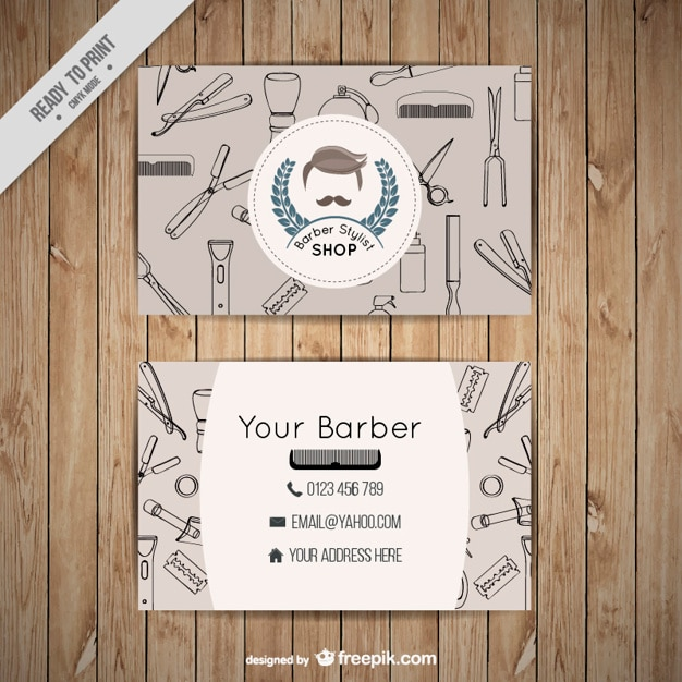 Barber shop business card with outlined tools vector free download barber shop business card with outlined tools free vector reheart Images