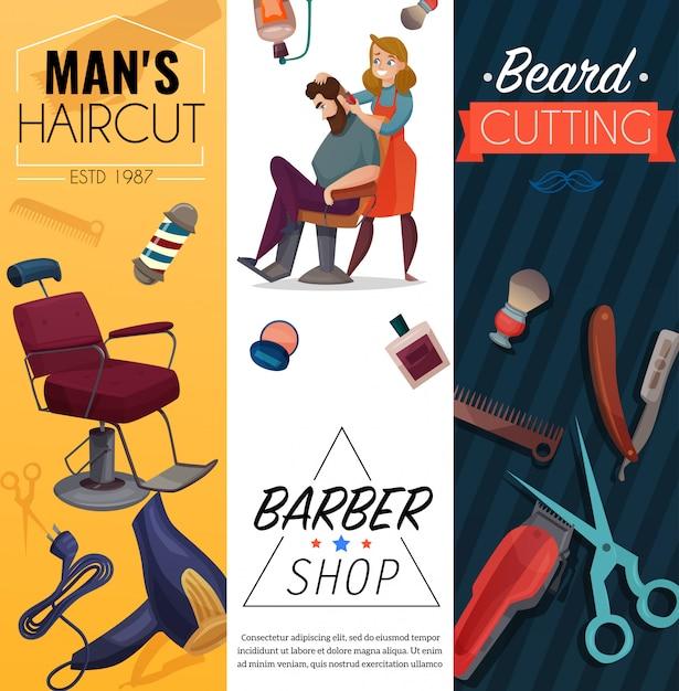 Barber shop cartoon banners Free Vector