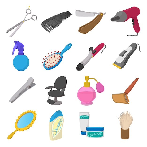 Barber shop cartoon icons. hairdresser set isolated vector Premium Vector