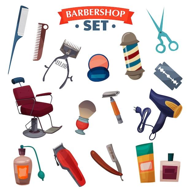 Barber shop cartoon set Free Vector