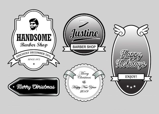 barber shop christmas and new year label badges premium vector