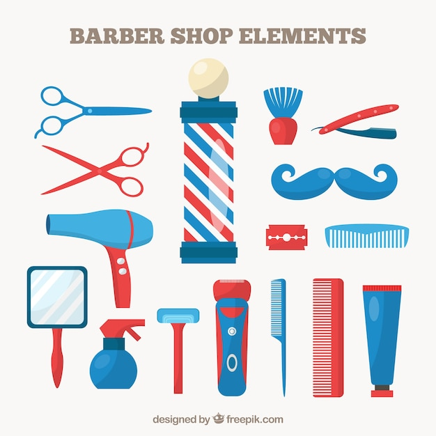 Barber shop elements in blue and red color Free Vector