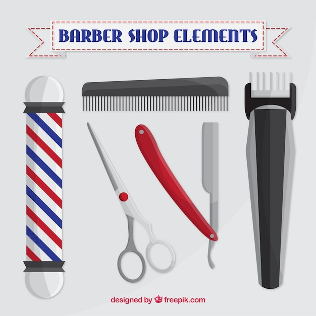 Barber shop elements in realistic style Free Vector