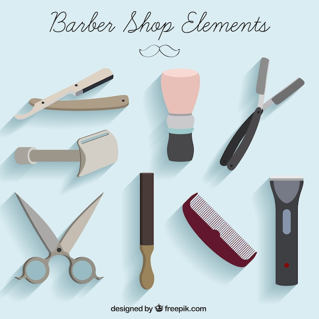Barber shop elements Free Vector