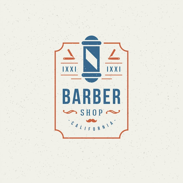 Barber shop emblem Premium Vector
