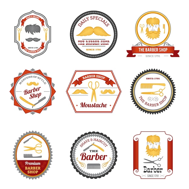 Barber shop emblems colored Free Vector