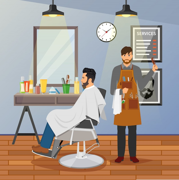 Barber shop flat design Free Vector