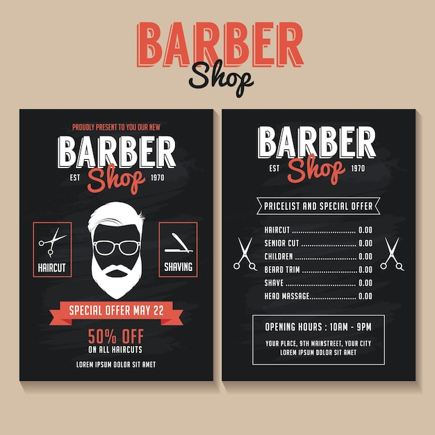Barber Shop Flyer Template With A Price List And A Special Offer - Price list brochure template