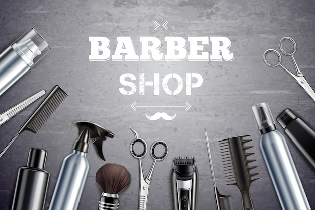 Barber shop hair styling tools supplies set realistic monochrome top view with shaving brush vector illustration Free Vector