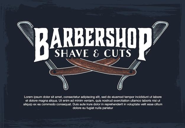 Barber shop hipster vintage sign template Premium Vector