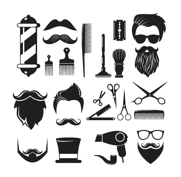 理髪店のアイコン要素 Premiumベクター