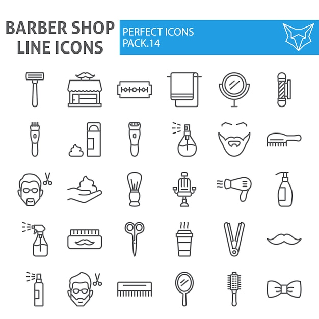 Barber shop line icon set, hairstyle collection Premium Vector