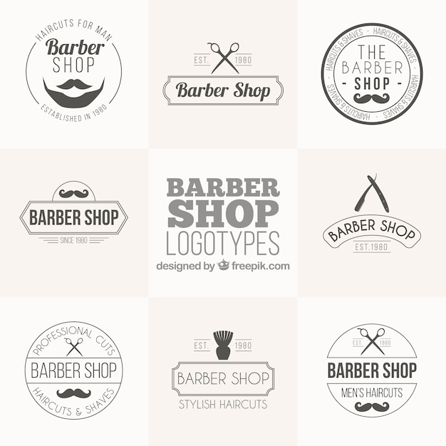 Barber shop logo collection in vintage style