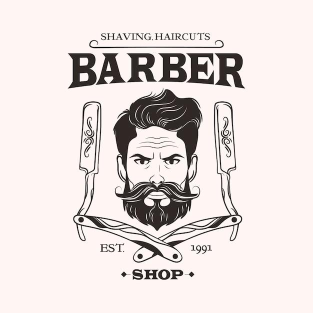 Barber shop logo on light background Premium Vector